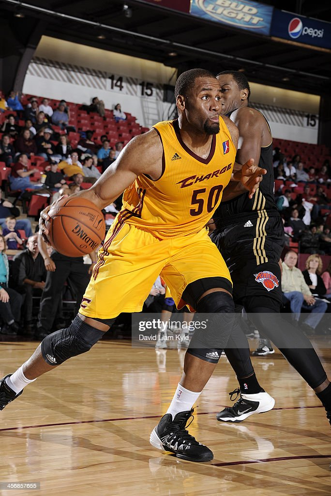 Arinze Onuaku of the Canton Charge drives to the hoop against the Erie BayHawks at the Canton Memorial Civic Center on December 14 2013 in Canton...