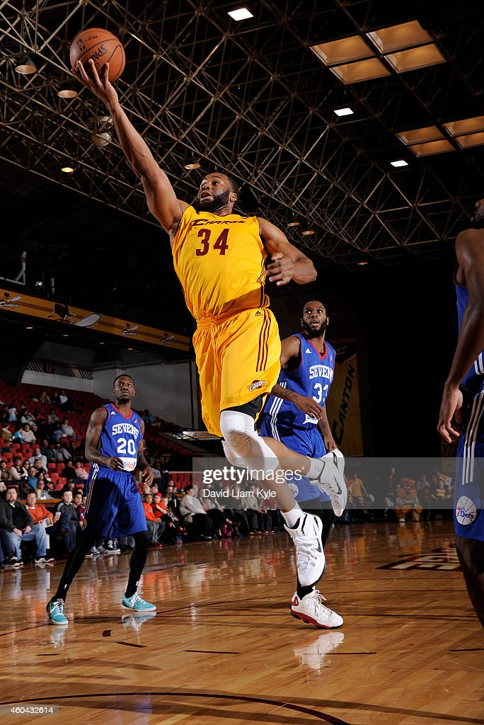 Arinze Onuaku of the Canton Charge goes up for the shot against the Delaware 87ers at the Canton Memorial Civic Center on December 13 2014 in Canton...