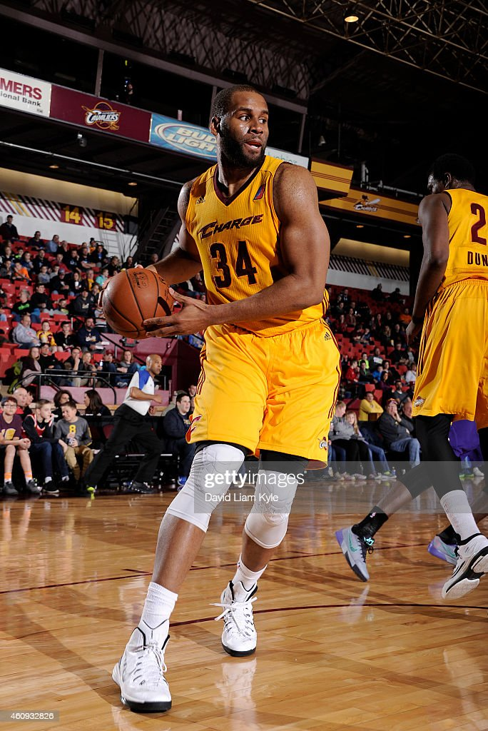 Arinze Onuaku of the Canton Charge grabs a rebound against the Los Angeles DFenders at the Canton Memorial Civic Center on December 30 2014 in Canton...