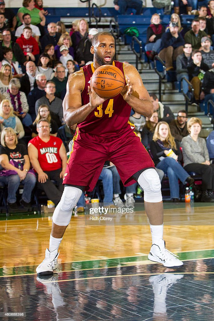 Arinze Onuaku of the Canton Charge prepares to clear a defensive rebound against the Maine Red Claws on December 28 2014 at the Portland Expo in...