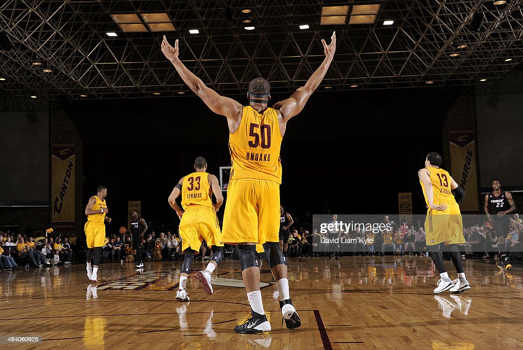 Arinze Onuaku of the Canton Charge reacts to his team going up late in the game against the Sioux Falls Skyforce at the Canton Memorial Civic Center...
