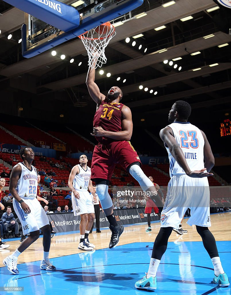 Arinze Onuaku of the Canton Charge shoots the ball against Semaj Christon Mario Little and Grant Jerrett of the Oklahoma City Blue during an NBA...