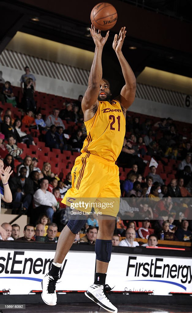 Arinze Onuaku #21 of the Canton Charge shoots the jumper against the Springfield Armor at the Canton Memorial Civic Center on November 24, 2012 in Canton, Ohio.