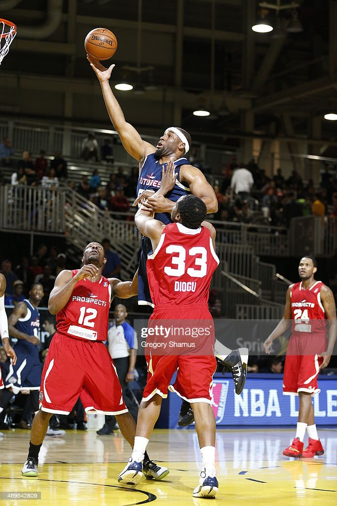 Arinze Onuaku of the Futures drives to the basketl against the Prospects during the NBA DLeague AllStar Game at Sprint Arena as part of 2014 NBA...