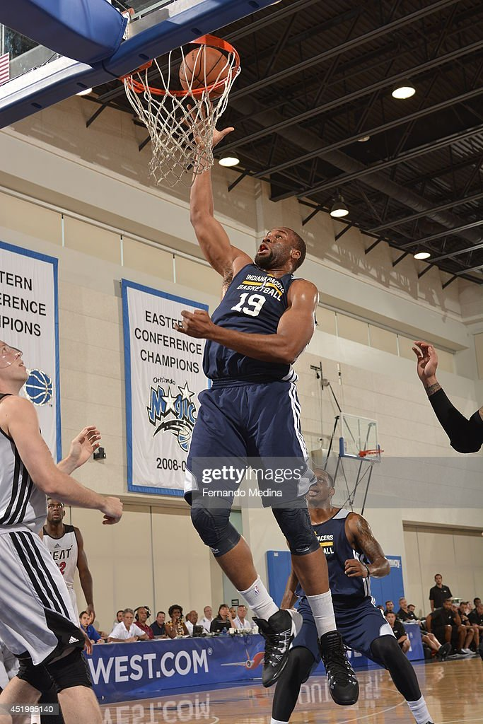 Arinze Onuaku of the Indiana Pacers shoots the ball against the Miami Heat during the Samsung NBA Summer League 2014 on July 10 2014 at Amway Center...