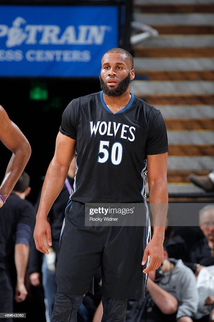 Arinze Onuaku of the Minnesota Timberwolves looks on during the game against the Sacramento Kings on April 7 2015 at Sleep Train Arena in Sacramento...
