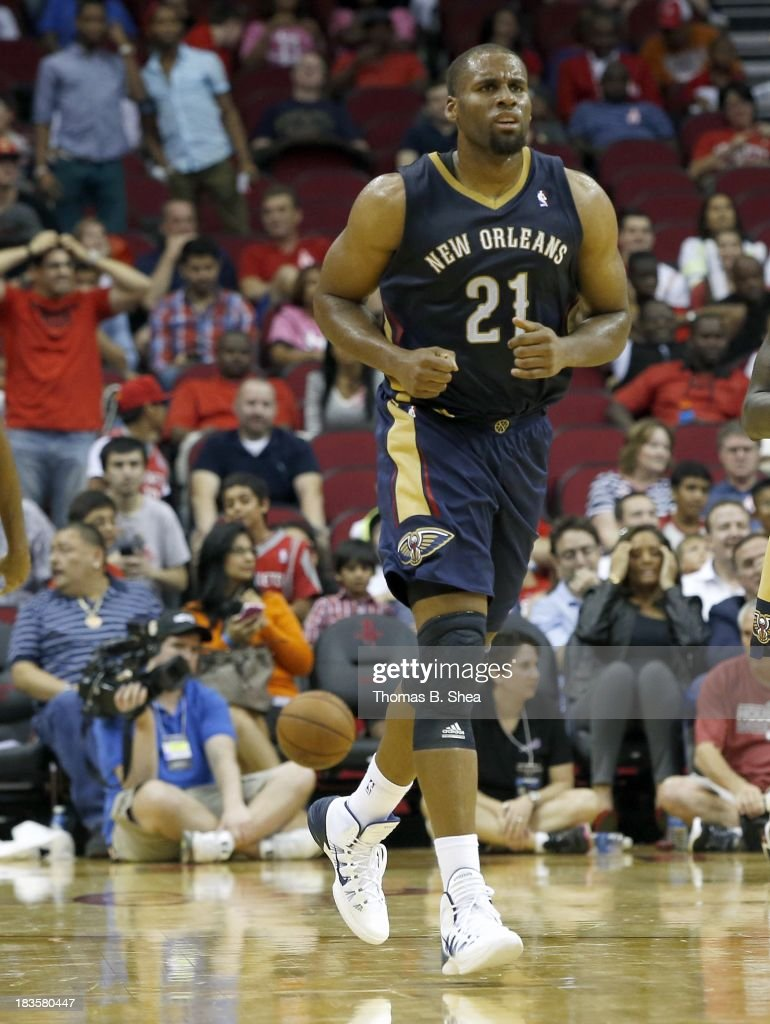 Arinze Onuaku of the New Orleans Pelicans runs down court against the Houston Rockets in a preseason NBA game on October 5 2013 at Toyota Center in...