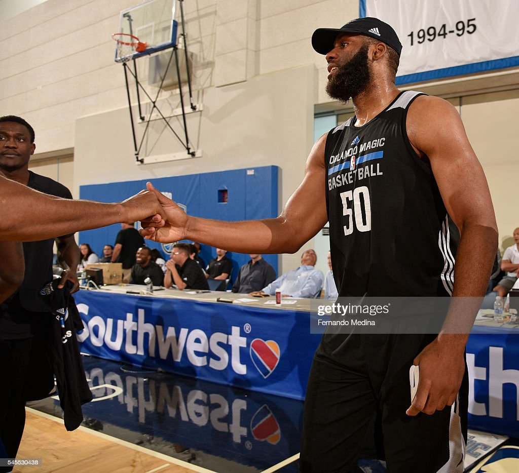 Arinze Onuaku of the Orlando Magic White celebrates after beating the Detroit Pistons during the Orlando Summer League Championship Game on July 8...