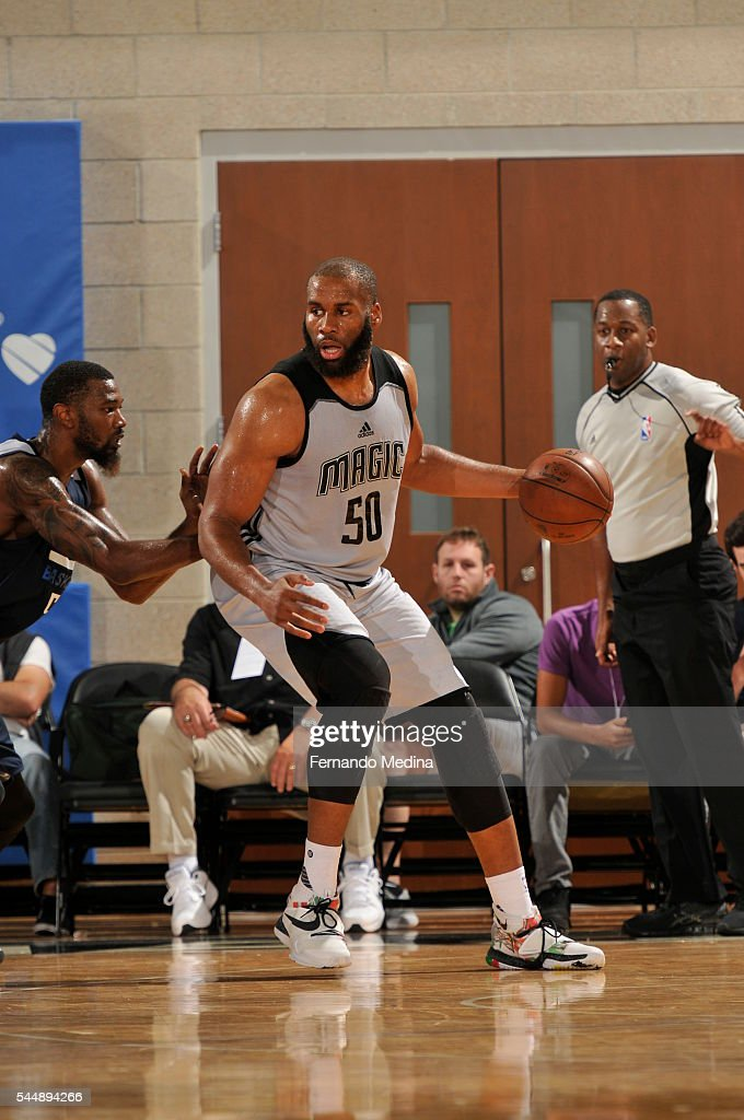 Arinze Onuaku of the Orlando Magic White handles the ball against the Dallas Mavericks during the Orlando Summer League on July 4 2016 at Amway...