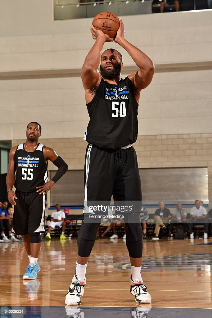 Arinze Onuaku of the Orlando Magic White shoots a foul shot against the Detroit Pistons during the Orlando Summer League Championship Game on July 8...