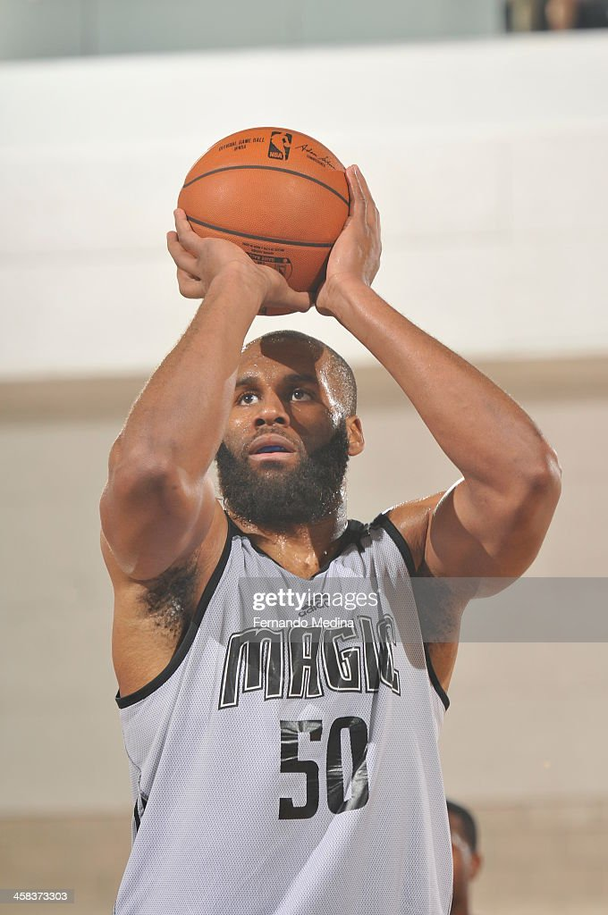 Arinze Onuaku of the Orlando Magic White shoots against the Charlotte Hornets during the 2016 Southwest Airlines Orlando Pro Summer League on July 2...