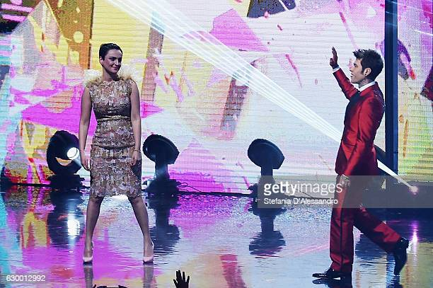 Arisa and Fedez attend 'X Factor X' Tv Show on December 15 2016 in Milan Italy