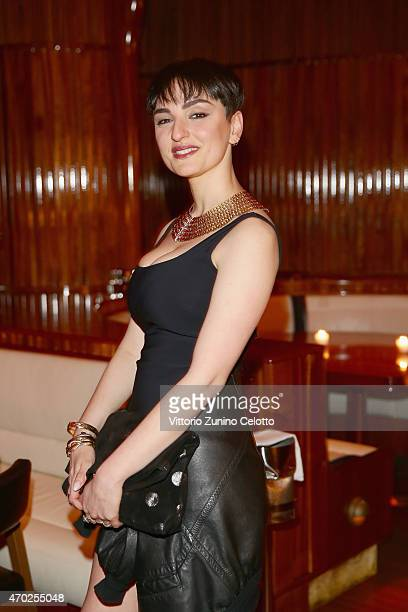 Arisa attends Lampoon cocktail and private dinner on April 18 2015 in Milan Italy
