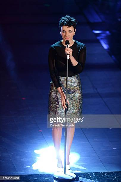 Arisa attends opening night of the 64th Festival di Sanremo 2014 at Teatro Ariston on February 18 2014 in Sanremo Italy