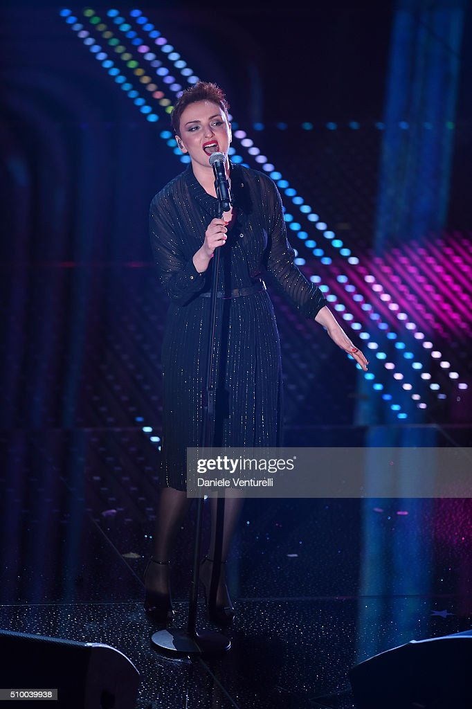 <a gi-track='captionPersonalityLinkClicked' href=/galleries/search?phrase=Arisa+-+Cantante&family=editorial&specificpeople=12523219 ng-click='$event.stopPropagation()'>Arisa</a> attends the closing night of 66th Festival di Sanremo 2016 at Teatro Ariston on February 13, 2016 in Sanremo, Italy.
