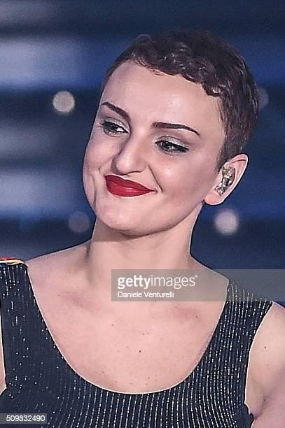 Arisa attends the fourth night of the 66th Festival di Sanremo 2016 at Teatro Ariston on February 12 2016 in Sanremo Italy
