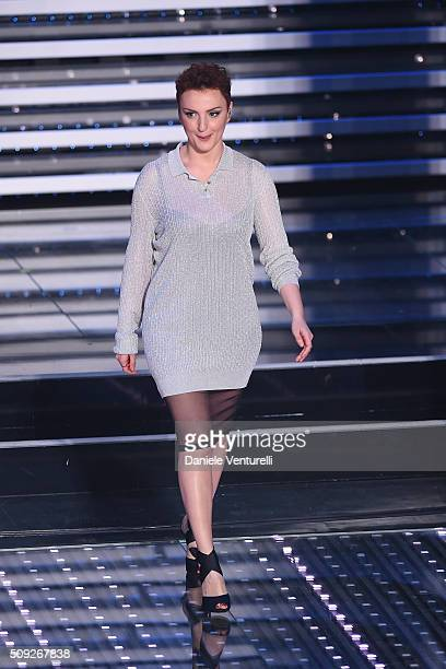 Arisa attends the opening night of the 66th Festival di Sanremo 2016 at Teatro Ariston on February 9 2016 in Sanremo Italy