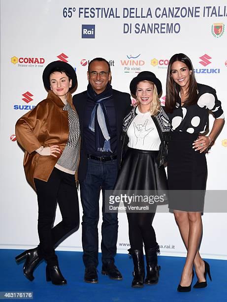 Arisa Carlo Conti Emma Marrone and Rocio Munoz Morales attend Sanremo 2015 Day 2 Photocall during the 65th Festival della Canzone Italiana 2015 at...