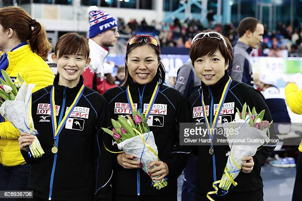 Arisa Go Maki Tsuji and Nao Kodaira of Japan with the gold medal celebrate after the Ladies Team Sprint during ISU World Cup Speed Skating Day 2 on...