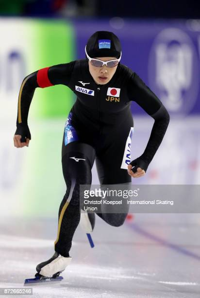 Arisa Go of Japan competes during the first ladies 500m Division A race on Day One during the ISU World Cup Speed Skating at the Thialf on November...