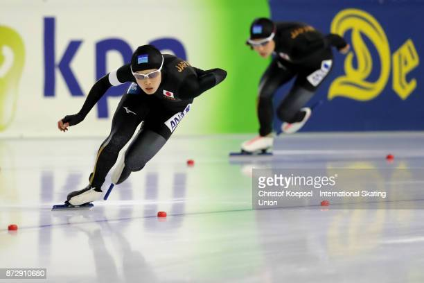 Arisa Go of Japan skates in front of Erina Kamiya of Japan during the second ladies 500m Division A race on Day Two during the ISU World Cup Speed...