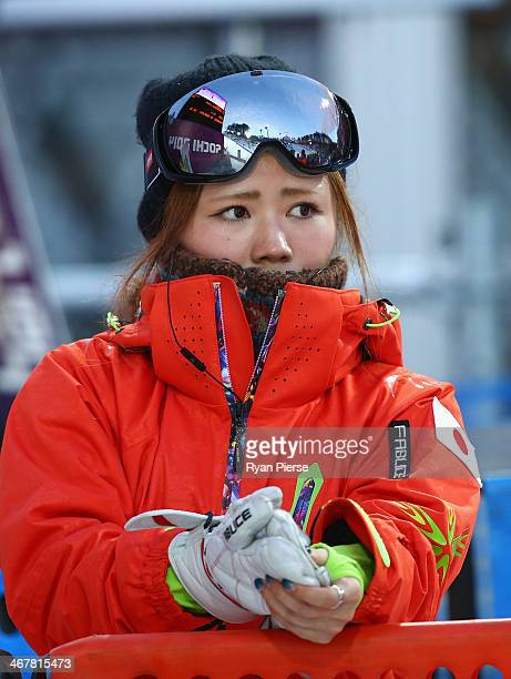 Arisa Murata of Japan looks on during Ladies' Moguls Qualification during day 1 of the Sochi 2014 Winter Olympics at Rosa Khutor Extreme Park on...