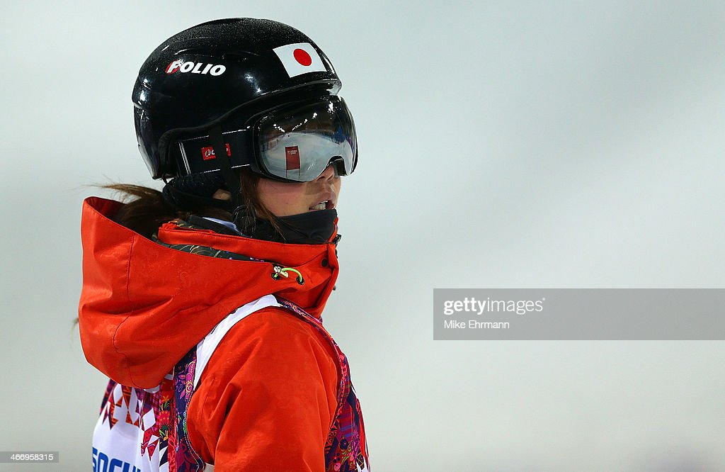 Arisa Murata of Japan practices during training for Moguls competition at the Extreme Park at Rosa Khutor Mountain on February 5, 2014 in Sochi, Russia.