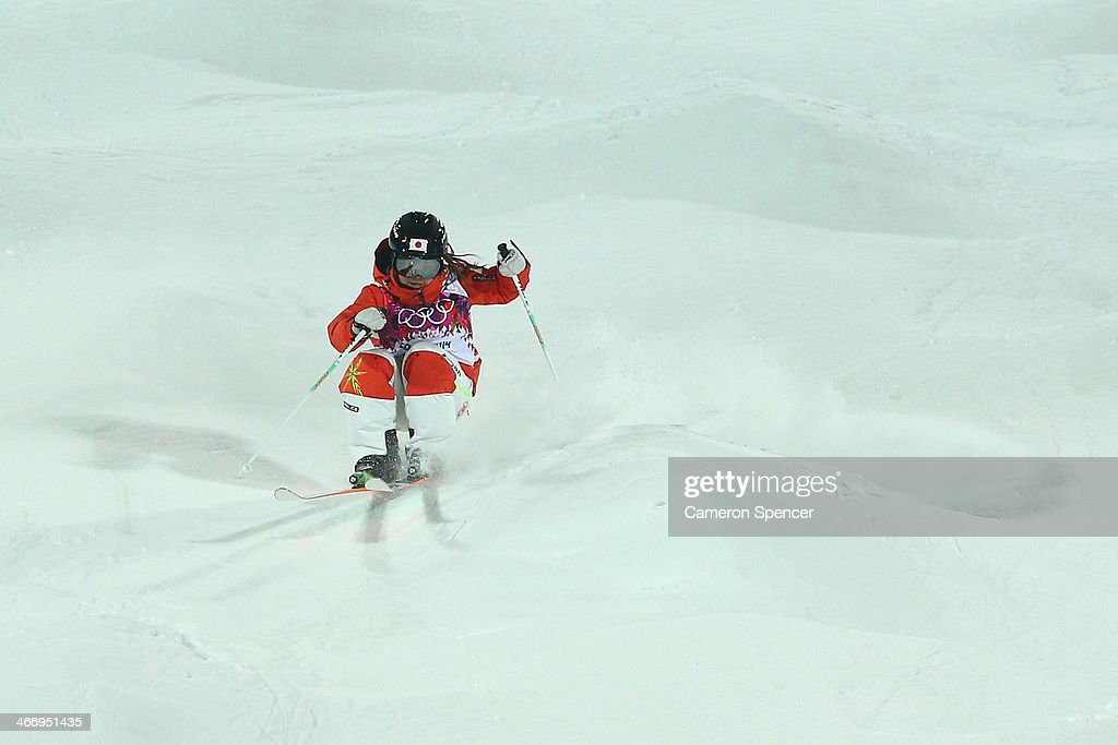 Arisa Murata of Japan trains during moguls practice at the Extreme Park at Rosa Khutor Mountain ahead of the Sochi 2014 Winter Olympics on February 5, 2014 in Sochi, Russia