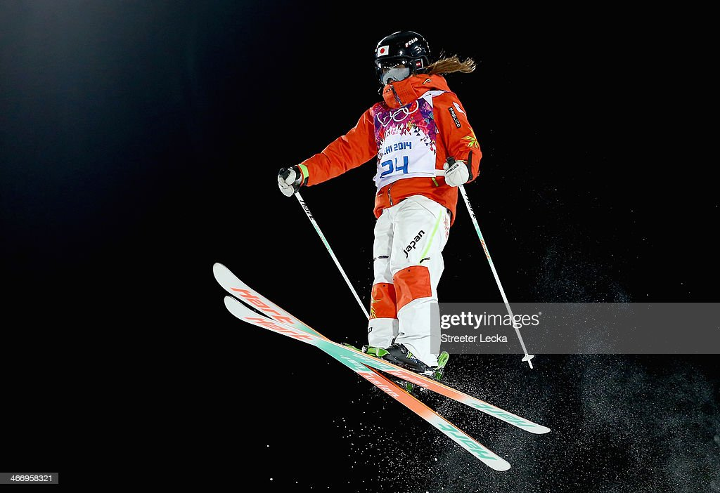 Arisa Murata of Japan trains during moguls practice at the Extreme Park at Rosa Khutor Mountain ahead of the Sochi 2014 Winter Olympics on February 5, 2014 in Sochi, Russia.