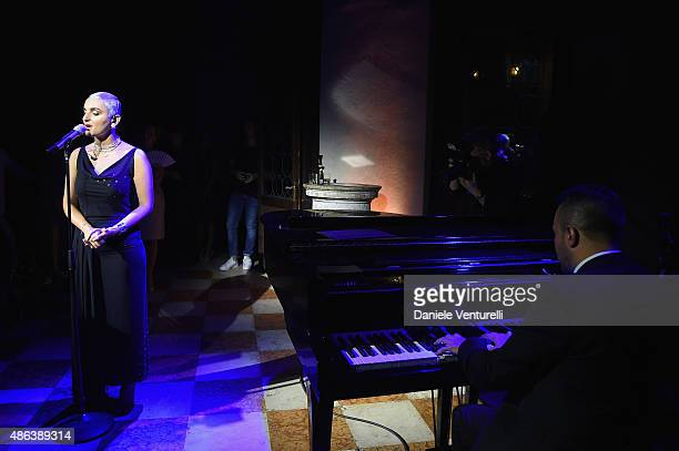 Arisa performs the Lampoon Gala during the 72nd Venice Film Festival at Palazzo Pisani Moretta on September 3 2015 in Venice Italy