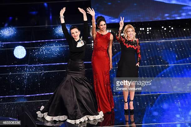 Arisa Rocio Munoz Morales and Emma attend the thirth night of 65th Festival di Sanremo 2015 at Teatro Ariston on February 12 2015 in Sanremo Italy