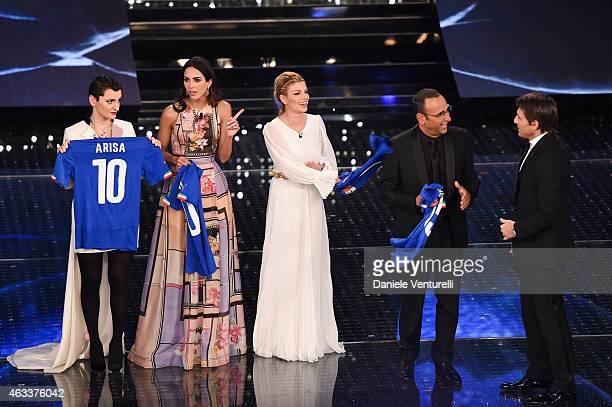 Arisa Rocio Munoz Morales Emma Marrone Carlo Conti and Antonio Conte attend the Fourth night of 65th Festival di Sanremo 2015 at Teatro Ariston on on...