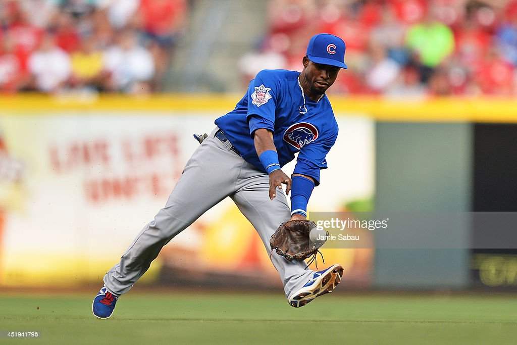 Arismendy Alcantara #7 of the Chicago Cubs fields a ground ball in the second inning against the Cincinnati Reds at Great American Ball Park on July 9, 2014 in Cincinnati, Ohio.