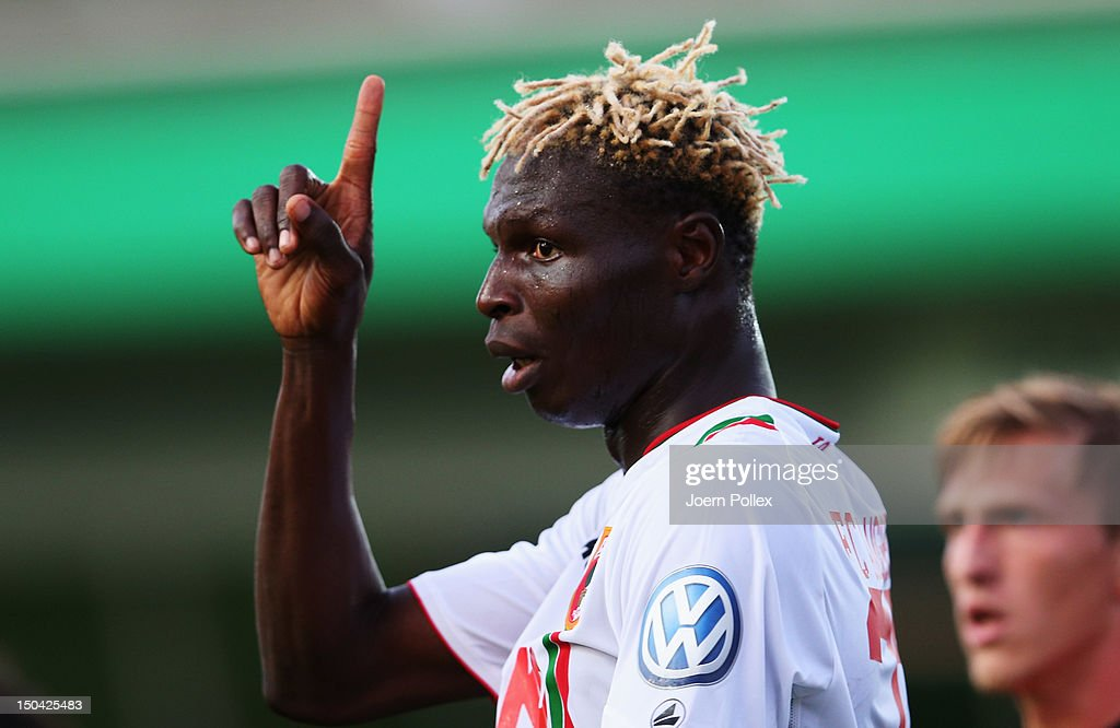 <a gi-track='captionPersonalityLinkClicked' href=/galleries/search?phrase=Aristide+Bance&family=editorial&specificpeople=3123631 ng-click='$event.stopPropagation()'>Aristide Bance</a> of Augsburg gestures during the DFB Cup first round match between SV Wilhelmshaven and FC Augsburg at Jade-Stadion on August 17, 2012 in Wilhelmshaven, Germany.
