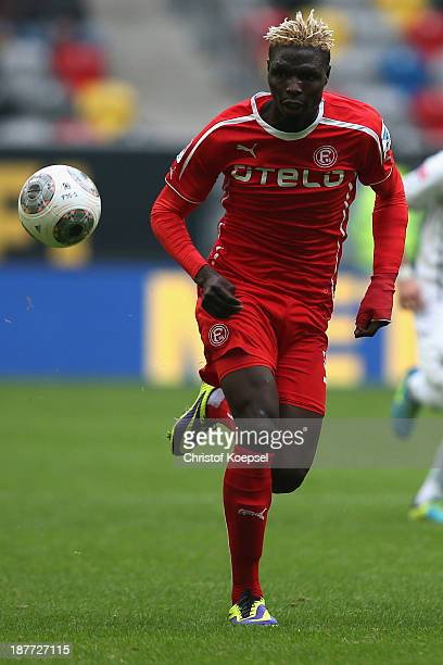 Aristide Bance of Duesseldorf runs with the ball during the Second Bundesliga match between Fortuna Duesseldorf and SV Sandhausen at EspritArena on...