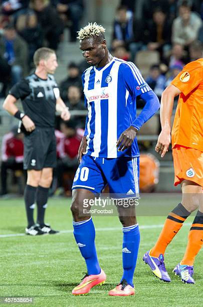 Aristide Bance of HJK Helsinki in action during UEFA Europa League group B match between HJK Helsinki and Club Brugge KV at the Sonera Stadium on...