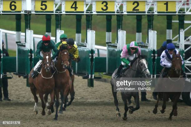 Aristocracy ridden by Daniel Cremin takes evasive action after swerving coming out of the stalls as the eventual winner Swivel far left ridden by Joe...