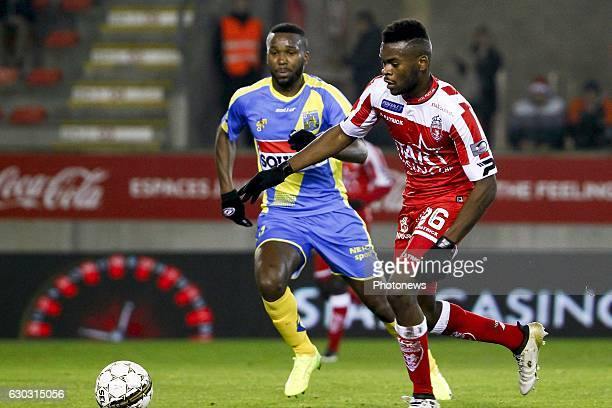 Aristote Nkaka defender of Royal Excel Mouscron during the Jupiler Pro League match between Royal Excel Mouscron and KVC Westerlo at Le Cannonier...