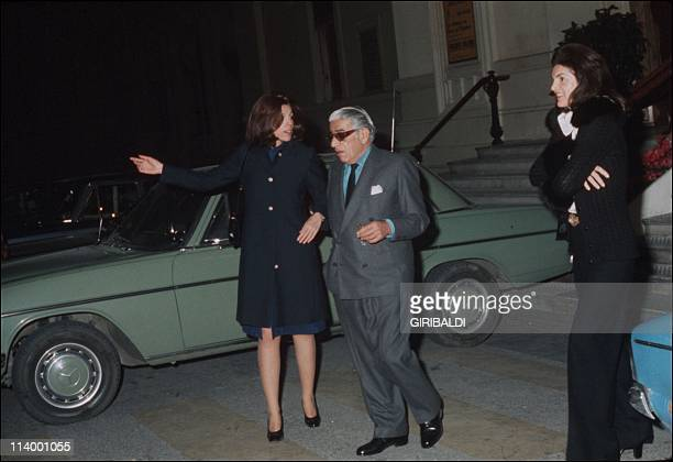 Aristote Onassis In France In 1974With Christina and Jacqueline