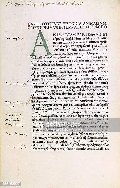 Aristotle De animalibus Latin translation by Theodoros of Gaza printed in Venice 1476