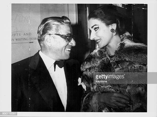 Aristotle Onassis and opera singer Maria Callas in conversation at the Royal Opera House London June 18th 1959
