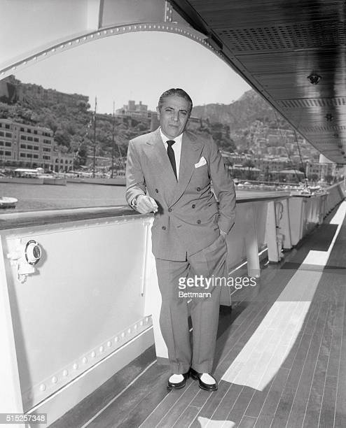 Aristotle Onassis Leaning on Railing of His Yacht Christina