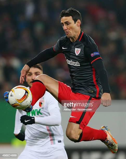 Aritz Aduriz of Athletic Bilbao controls the ball during the UEFA Europa League Group L match between FC Augsburg and Athletic Club at WWKArena on...