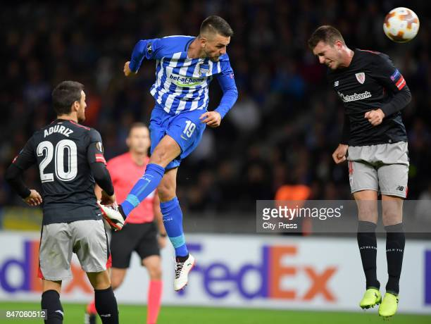 Aritz Aduriz of Athletic Bilbao Vedad Ibisevic of Hertha BSC and Aymeric Laporte of Athletic Bilbao during the game between Hertha BSC and Athletic...