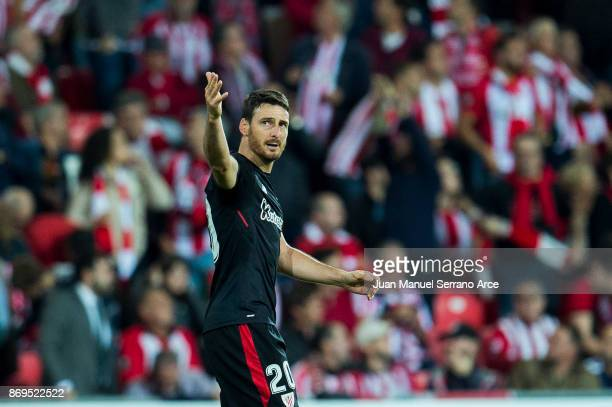 Aritz Aduriz of Athletic Club Bilbao celebrates after scoring goal during the UEFA Europa League group J match between Athletic Bilbao and Ostersunds...