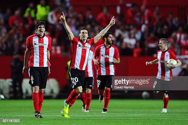 Aritz Aduriz of Athletic Club Bilbao celebrates scoring his team's opening goal during the UEFA Europa League quarter final second leg match between...