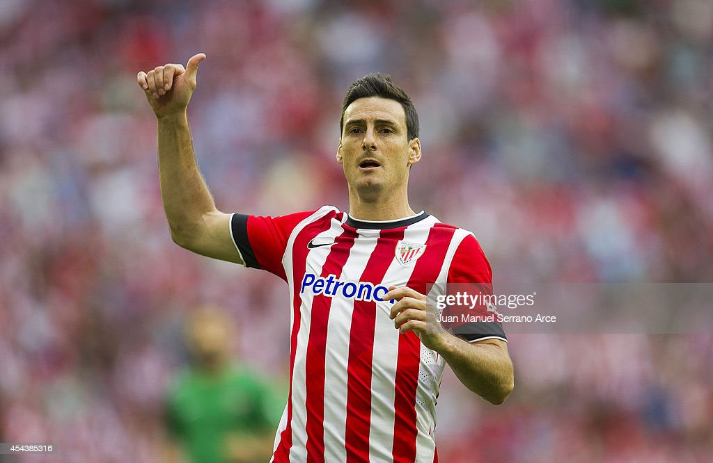 Aritz Aduriz of Athletic Club Bilbao reacts during the La Liga match between Athletic Club and Levante UD at San Mames Stadium on August 30 2014 in...