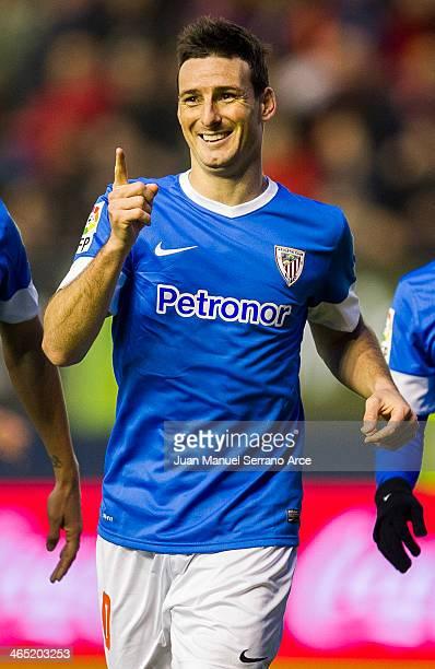 Aritz Aduriz of Athletic Club celebrates after scoring during the La Liga match between CA Osasuna andÊAthletic Club BilbaoÊat Estadio Reyno de...