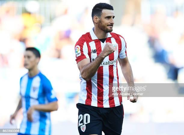 Aritz Aduriz of Athletic Club celebrates after scoring during the La Liga match between Malaga and Athletic Club at Estadio La Rosaleda on September...