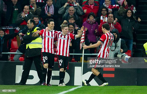Aritz Aduriz of Athletic Club celebrates after scoring during the Copa del Rey SemiFinal first leg match between Athletic Club and RCD Espanyol at...